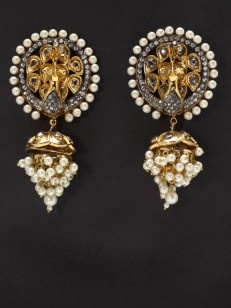 Buy Peacock Pearl Earring with White Stone online