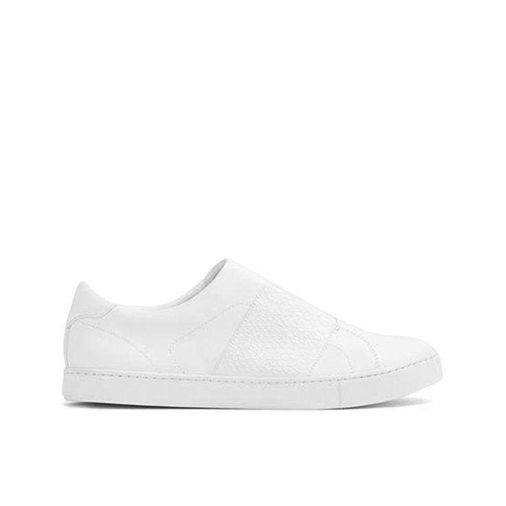 Zapato Aldo modelo Pirasa elaborado en material sintético color blanco punta redondeada banda en empeine con diseño tipo piel de serpiente detalles divisorios y suela a tono.