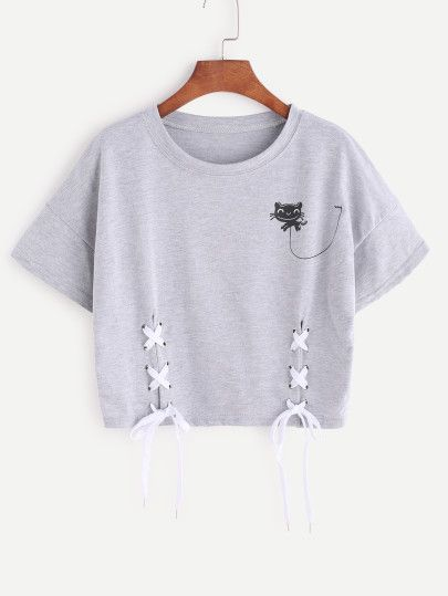 Heather Grey Cartoon Print Lace Up Side Crop T-shirt