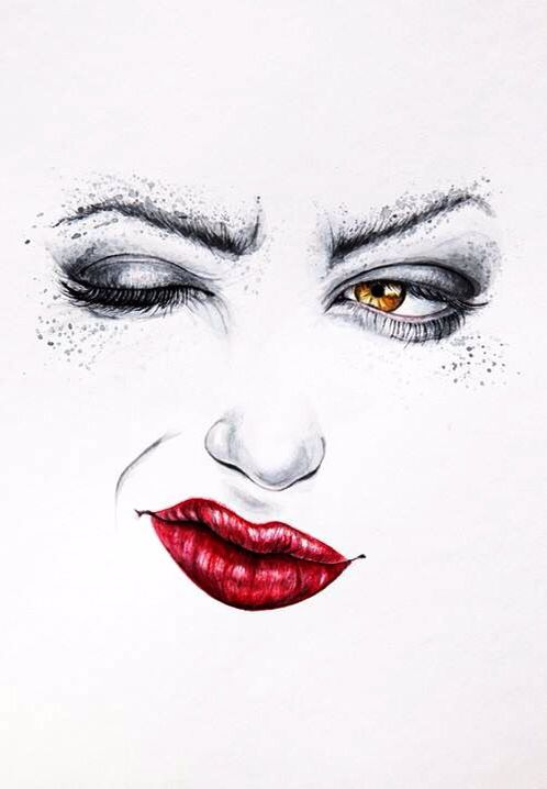 Woman's face one eye closed & red lips art | Red Black ...