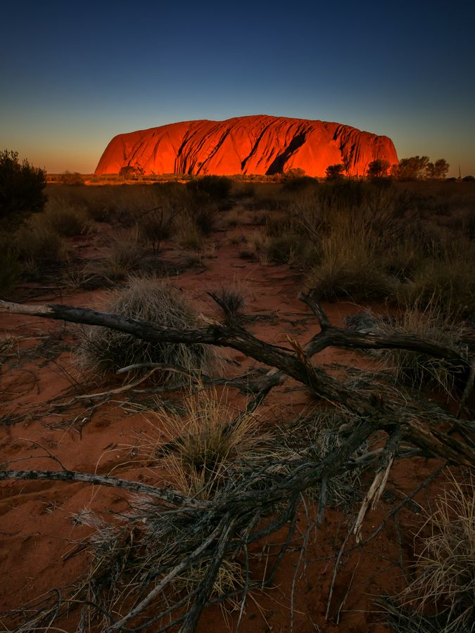 Uluru Sunset...I camped there in a tent once and words and pictures can't tell you how BIG and beautiful it is.I climbed to the top, though it's not encouraged these days.