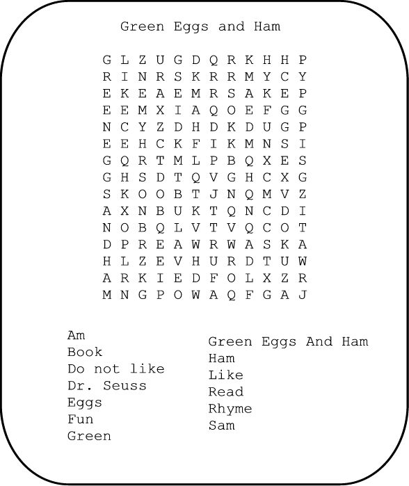 green eggs and ham wordsearch printable