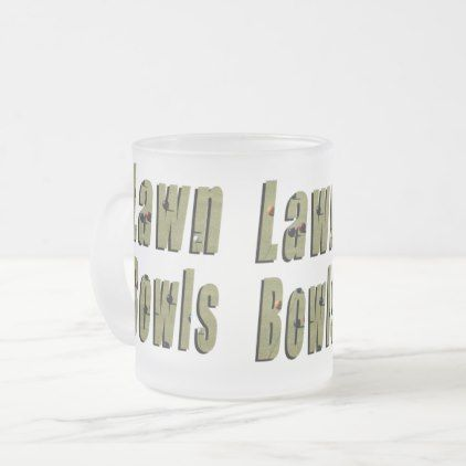 Lawn Bowls Picture Logo Frosted Glass Coffee Mug - home gifts ideas decor special unique custom individual customized individualized