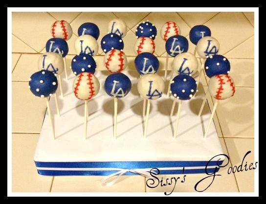 Dodgers Cake Pops! Great for a baseball dodgers themed baby shower
