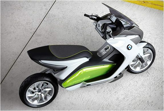 The e-Scooter designed by BMW, stands out for its innovative design, it has no mirrors, and is equipped with two cameras by the rear lights that tell the rider about what goes on in the back, through information available on two LCD screens. The BMW
