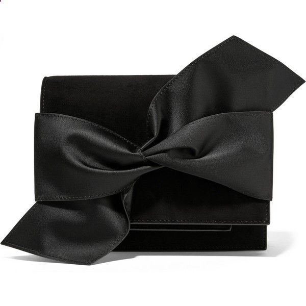 Victoria Beckham Bow-embellished suede clutch, Womens, Size: One Size (€1.345) ❤ liked on Polyvore featuring bags, handbags, clutches, black suede handbag, black evening clutches, oversized clutches, special occasion handbags and bow handbag
