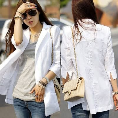 womens casual linen white blazer - Google Search