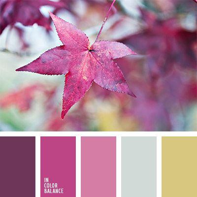 color burdeos, color de las hojas, color lila, colores de las hojas otoñales, combinación de colores para otoño, elección del color, gris y amarillo, paleta de colores de otoño, paleta de colores para otoño, rosado y amarillo, tonos rosados.