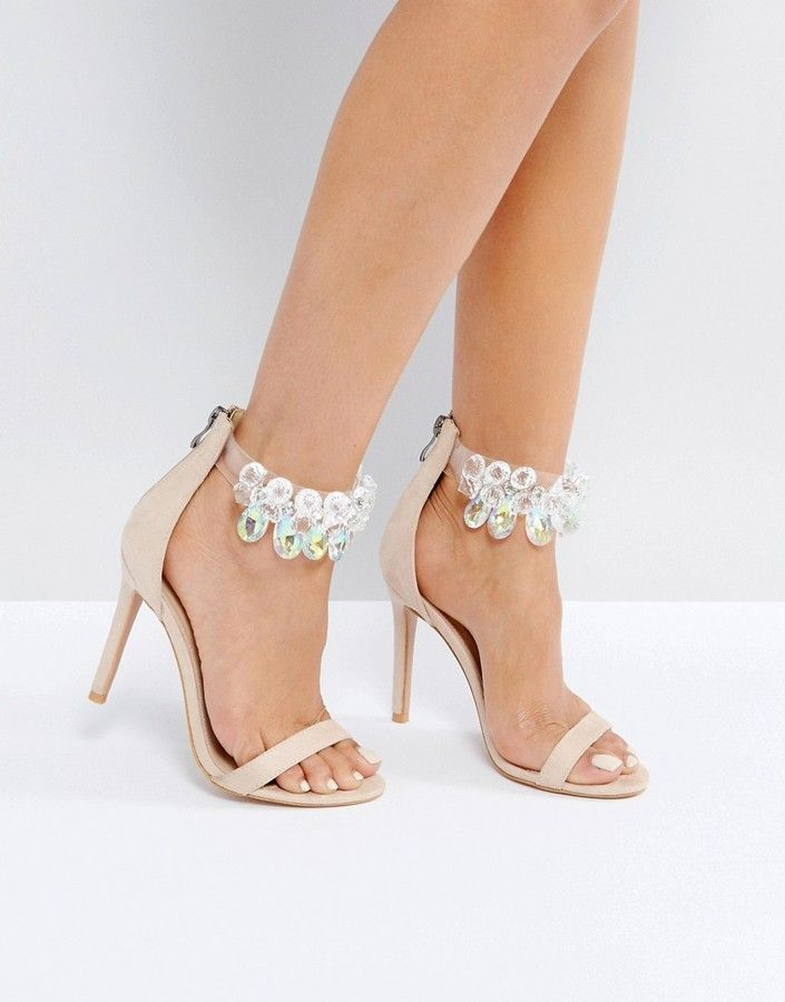 Public Desire Galaxy Nude Embellished Ankle Heeled Sandals