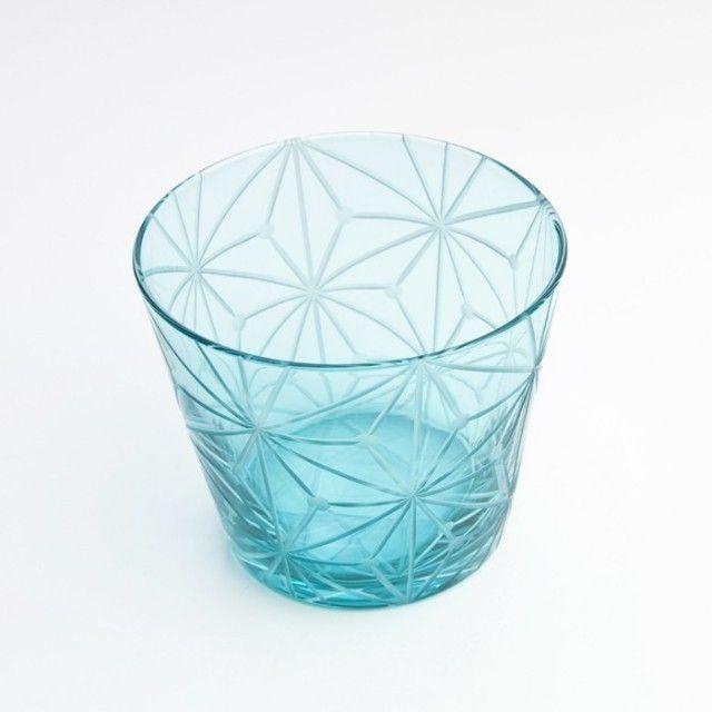 江戸切子(花切子)グラス 千代紙 空色 - KILIKO
