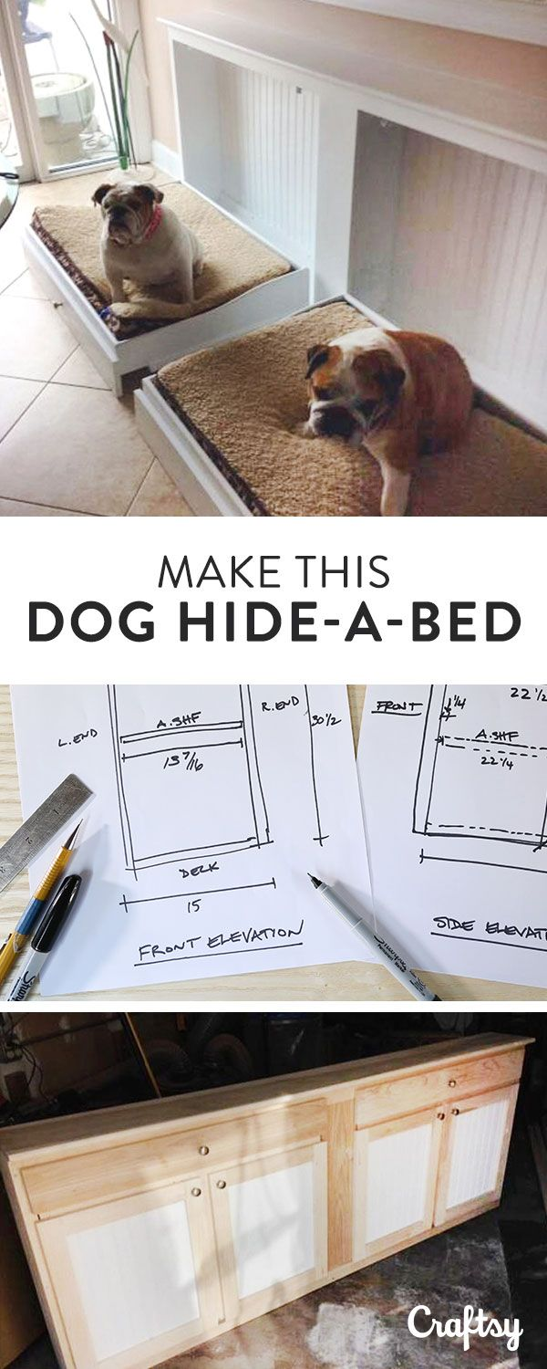 Easy on the eyes, this custom dog bed works just like a murphy bed. Fold down the dog bed during the day and fold them up when you're entertaining.