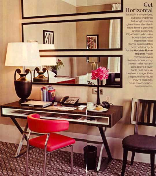 3 body length mirrors hung horizontally above a desk or entry way sideboard- brilliant!