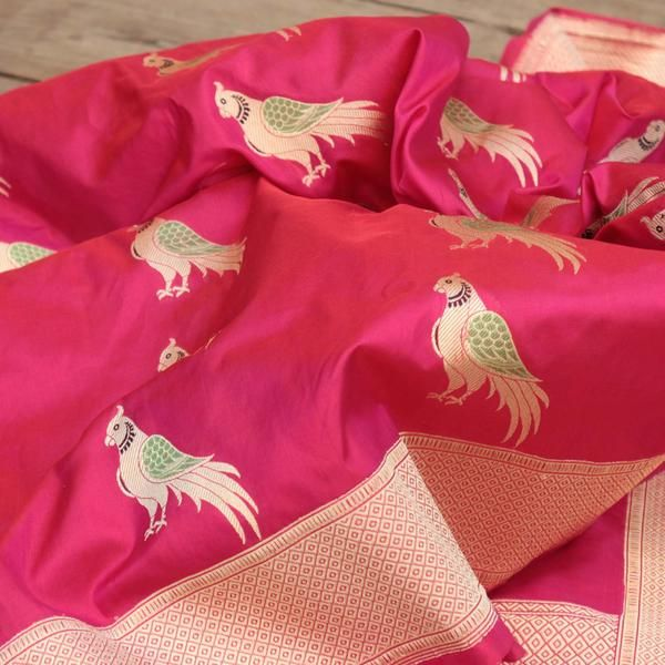 Parrots were once considered prized possessions for the royalty and the nobility. Today, it is our gorgeous and hot-selling parrot motif dupattas! Evocative of