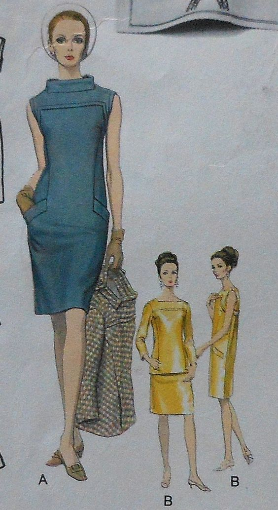 Vintage 60's Paris Original LAROCHE Dress & Back Closing Jacket Sewing Pattern: