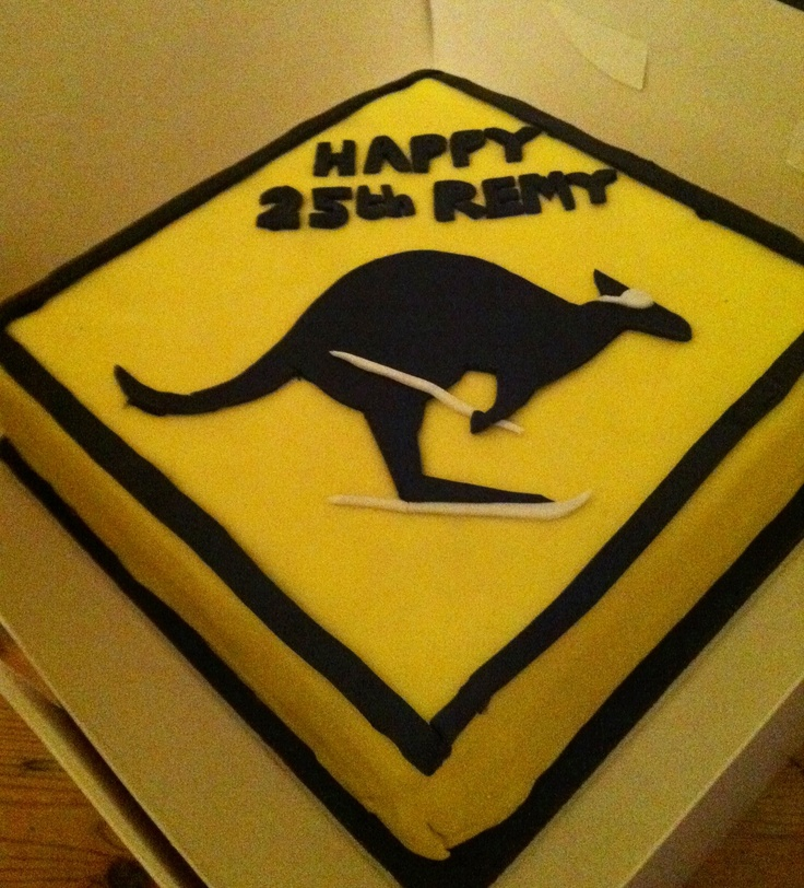 What better way to celebrate a 25yr old Australian skiers birthday than with a skiing kangaroo cake?! X