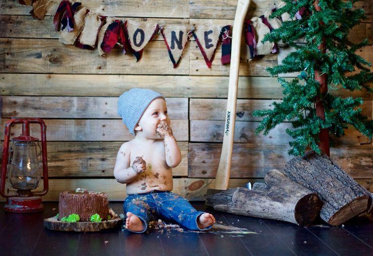 Lumberjack cake smash first birthday!