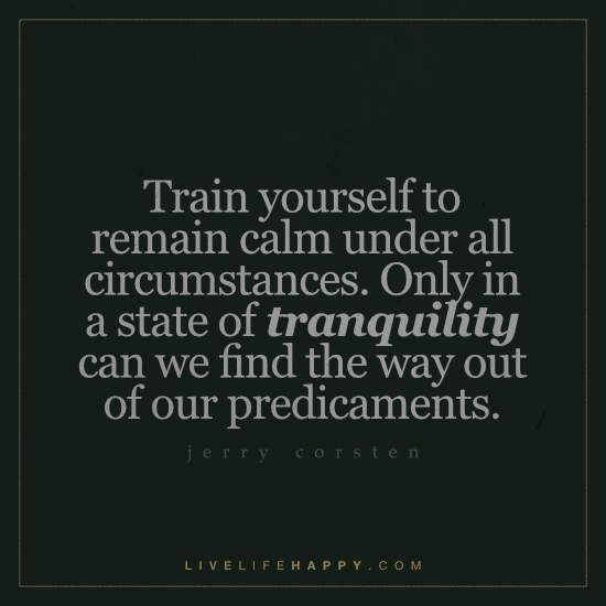 Train Yourself to Remain Calm Under All Circumstances