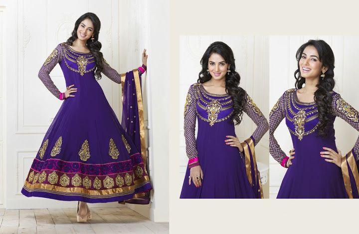 Exquisite Deep Purple Salwar Kameez   StylishKart.com