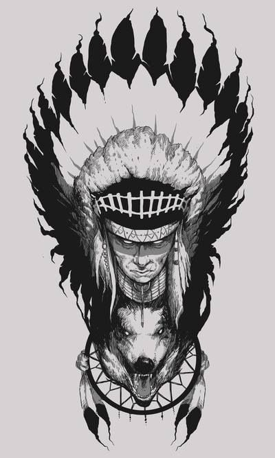 Native American indian chief / wolf / feather dream catcher drawing