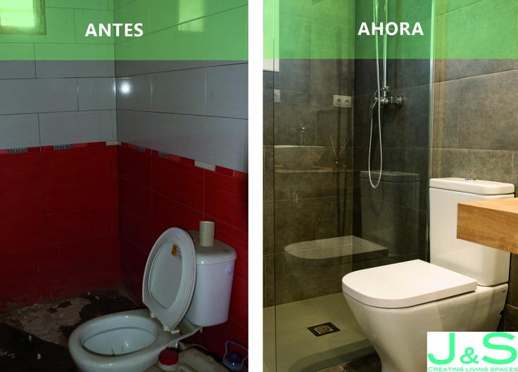 El antes y el ahora de este baño en nuestro último proyecto de reforma en un piso de #granollers . #decoracion #reforma #baño #jslivingspaces #interiordesign #deco #piso #interiorismo