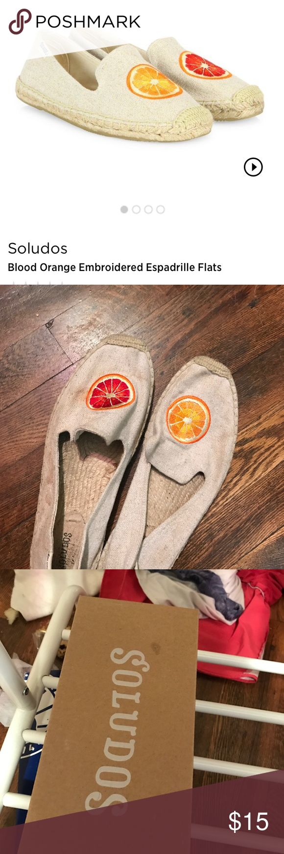 Soludos blood orange espadrille flats Worn 3-5 times ...size 11 and they fit like a 10.5 Soludos Shoes Espadrilles
