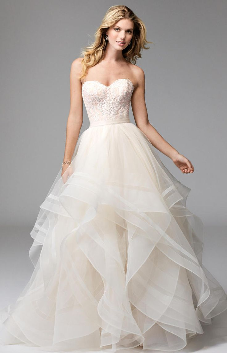 Strapless ballgown with lace bodice and tulle skirt | Wtoo by Watters Fall 2016 | https://www.theknot.com/content/wtoo-wedding-dresses-bridal-fashion-week-fall-2016