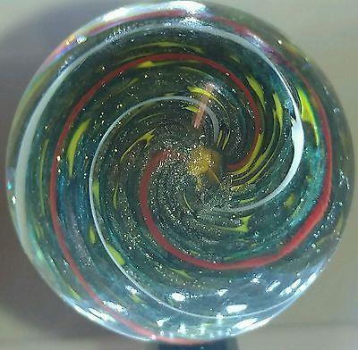 """Marble Handmade Lutz Aventurine Core Red Yellow White Gold 1.197"""" Signed 2 Stars"""
