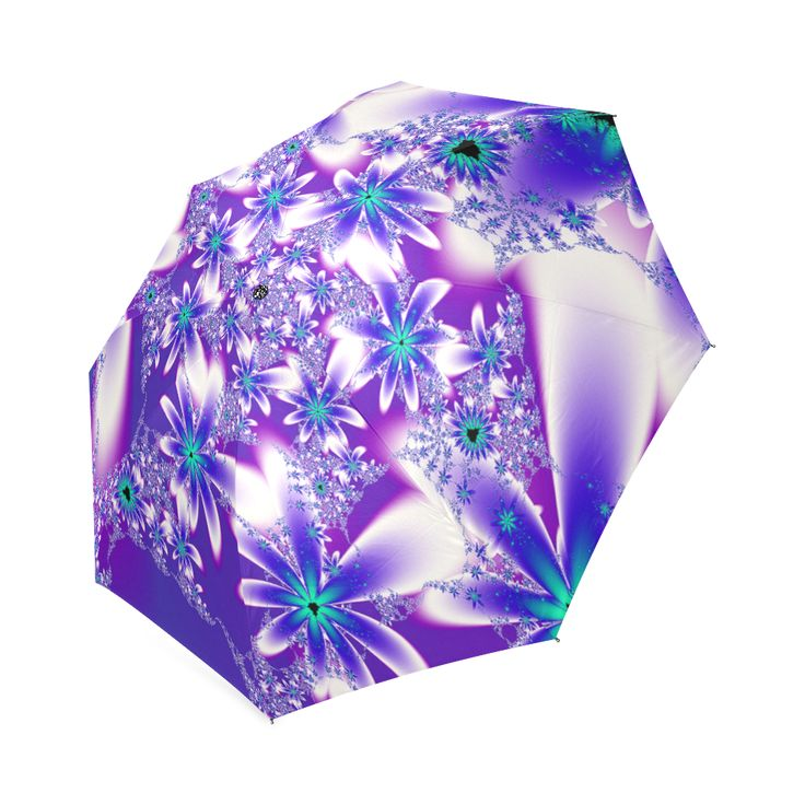 Purple Flowers Pattern Umbrella Foldable Umbrella by Tracey Lee Art Designs