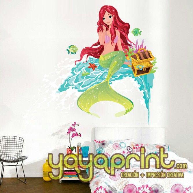 Vinilo de sirenita princesa del mar con agua fondo marino for Mural habitacion juvenil