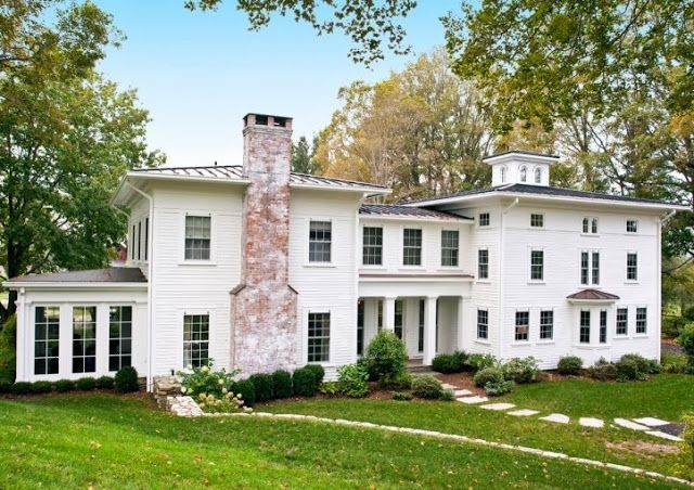 Design Chic: House Tour: Marcia Tucker Design - Should I use white washed brick instead of stone for my chimneys?