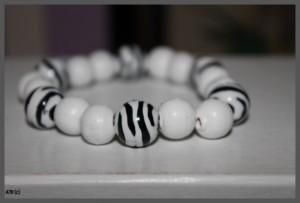 White Wooden Beads with Zebra Acrylic Featured Bracelet