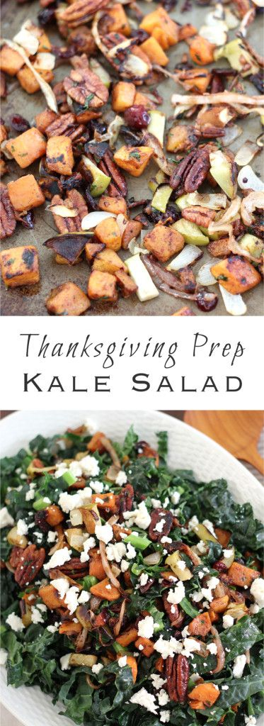 Thanksgiving Prep Kale Salad- perfect for Thanksgiving Eve, giving you a little taste of the feast to come with the ingredients you're already cooking