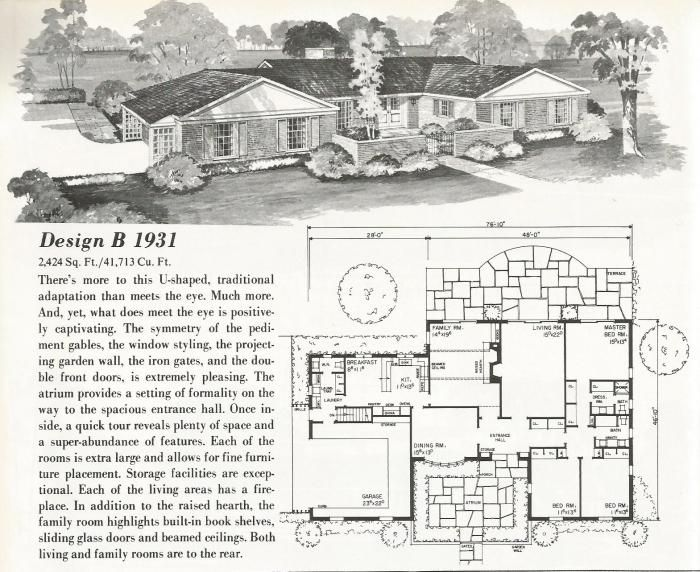 Vintage House Plans, mid century homes, U shaped houses