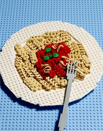 Lego food with designer jewelry bonus! Gold earrings and rings with champagne diamonds. Antonini. (Vogue Gioiello, May 2013)