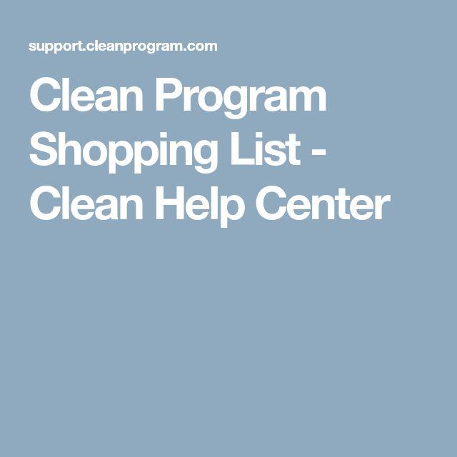 Clean Program Shopping List - Clean Help Center