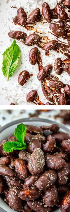 Mint chocolate covered almonds are the perfect healthy snack or appetizer for New Year's Eve! Sprinkle them with coarse sugar for sparkle and crunch. from The Food Charlatan.