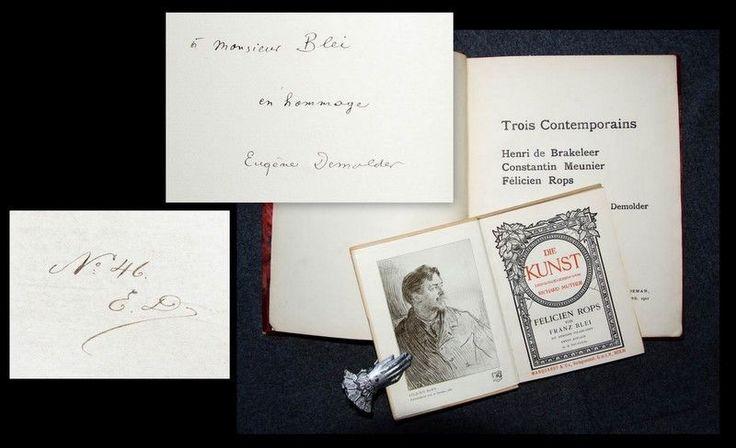 """La maison de ventes aux enchères de Munich F. Zisska & Lacher proposait dans son catalogue de vente de novembre 2015, p. 315, lot 1592, une édition rare du livre de l'écrivain et critique d'art belge Eugène Demolder (1862-1919) , """"Trois Contemporains...."""