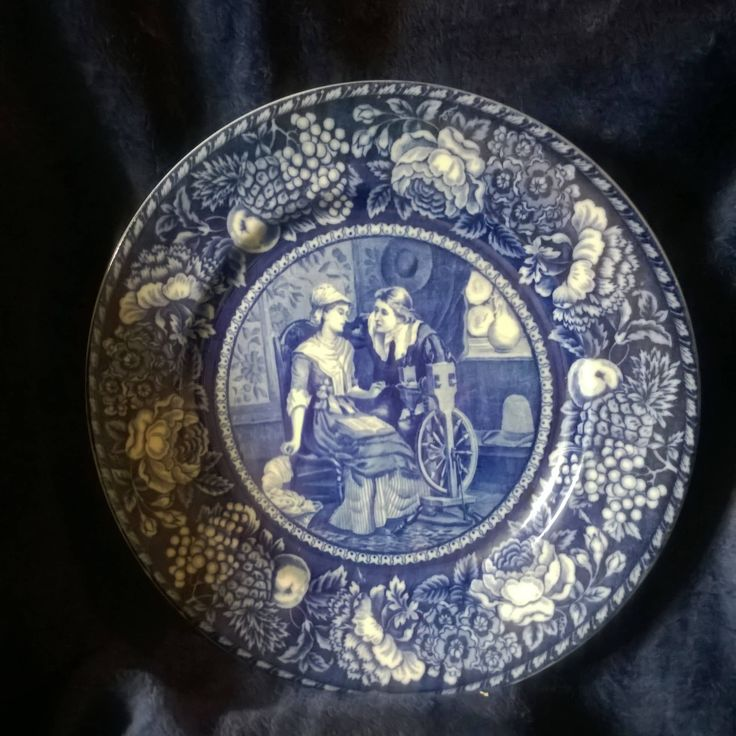 Vintage Plate, John Alden, Priscilla, Staffordshire, Thanksgiving, Pilgrim Fathers, Commemorative, Collectible Plates, China, Blue and White by TillyofBloomsbury on Etsy