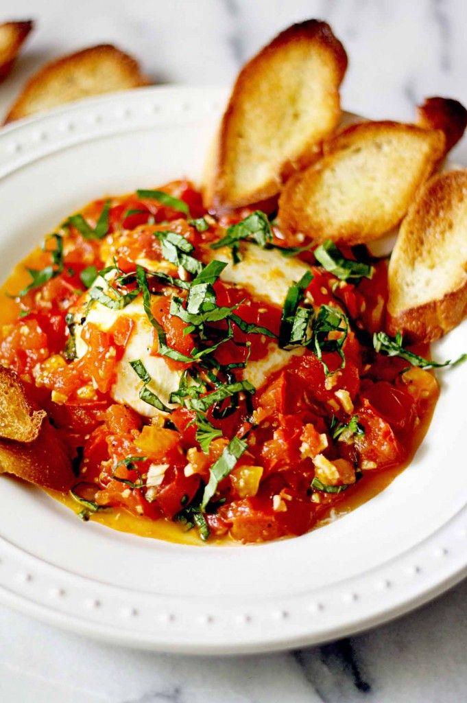Burrata with White Wine and Garlic Sautéed Tomatoes. Happy warm gooey cheese heaven. #recipe
