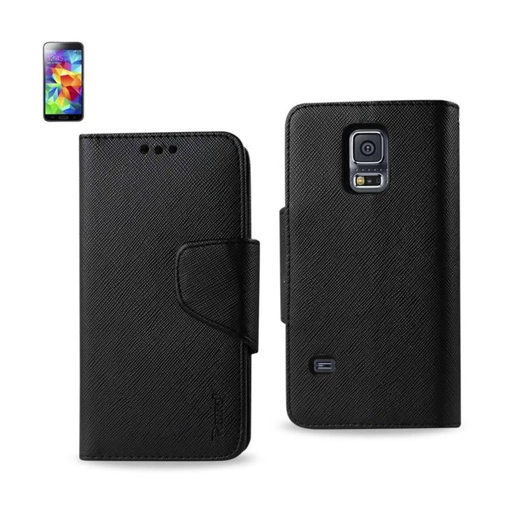 Reiko Wallet Case 3 In 1 For Samsung Galaxy S5 Mini Sm-G800 Black Interior Leather-Like Material And Polymer Cover