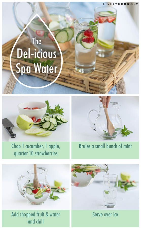 """Del-icious Spa Water. You don't have to pay hundreds of dollars to taste the infused water enjoyed by spa guests of the Hotel Del Coronado in San Diego, California.  """"The Del-icious"""" is easy to make at home — all you need is water, mint, strawberries and a cucumber.  Put on your fuzzy robe and slippers and it'll be just like you're at the spa."""