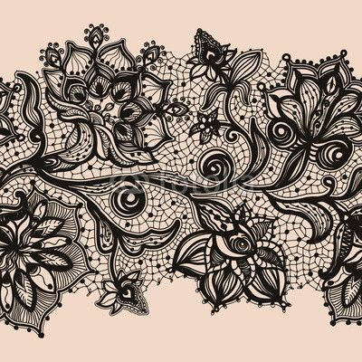 Abstract lace ribbon seamless pattern with elements flowers by vikpit74, Royalty free vectors #57442914 on Fotolia.com