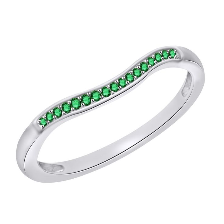 0.15ct Round Green Emerald 10k White Solid Gold Anniversary Band + Black Diamond #Findingsnjewelry #AnniversaryBand