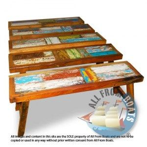 patchwork benches in many sizes, reclaimed boat timber. Nautical, recycled, reclaimed, boatwood, boat furniture.