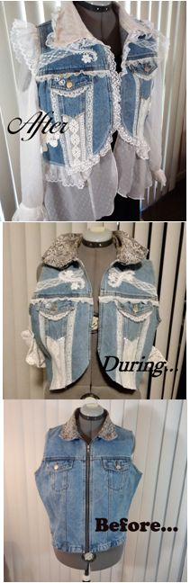 A tough girl denim vest refashioned into a lovely angelic, lacy, flouncy, sweet confection.