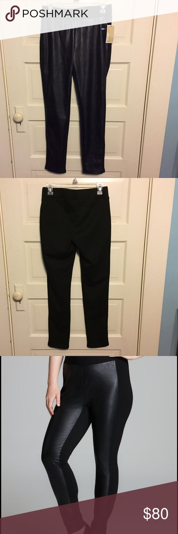 Michael Kors black faux leather front leggings Michael Kors size small black faux leather front leggings.  These leggings bring a pop to every outfit!  NWT. Michael Kors Pants Leggings
