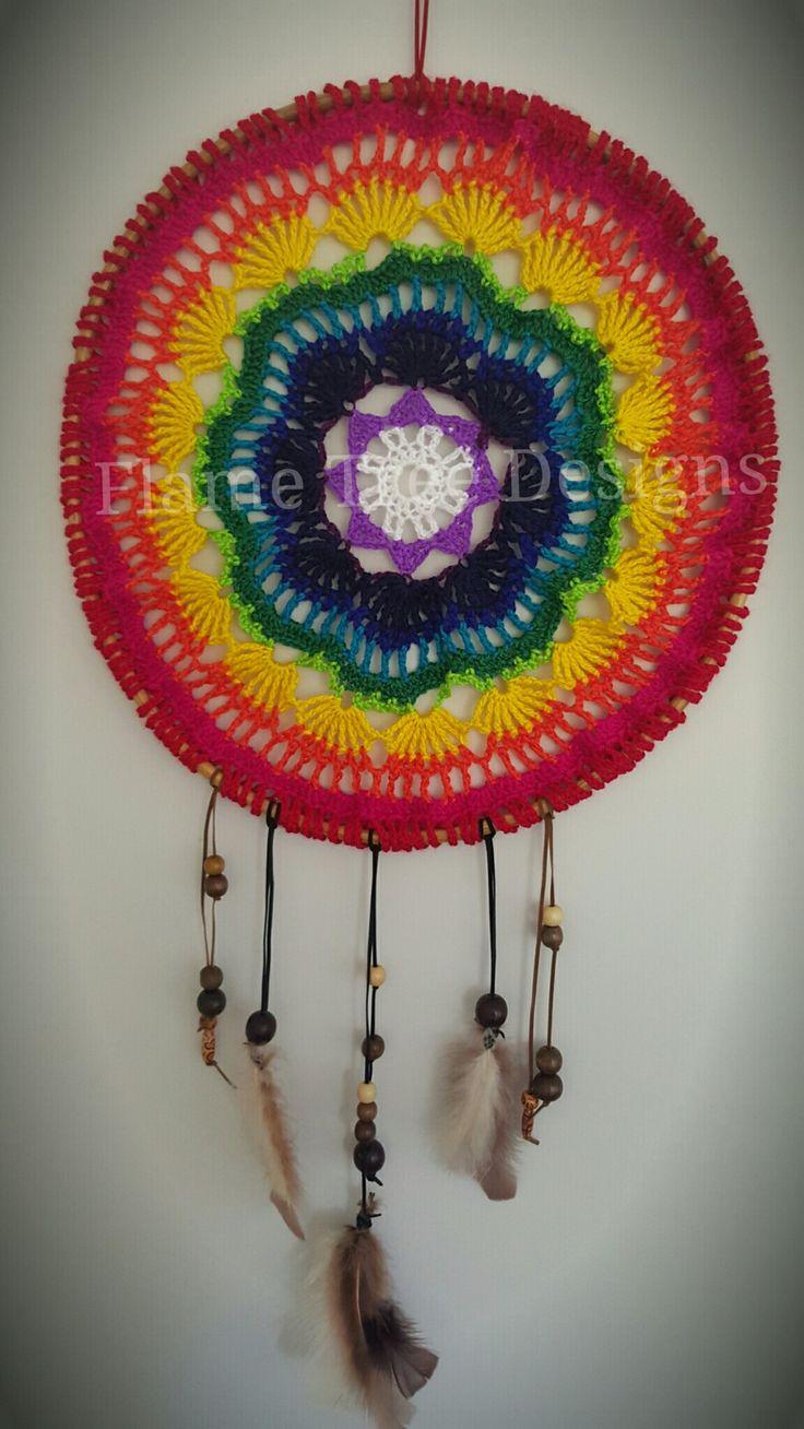 OOAK Rainbow Crochet Chakra Mandala Dreamcatcher 50cm diameter