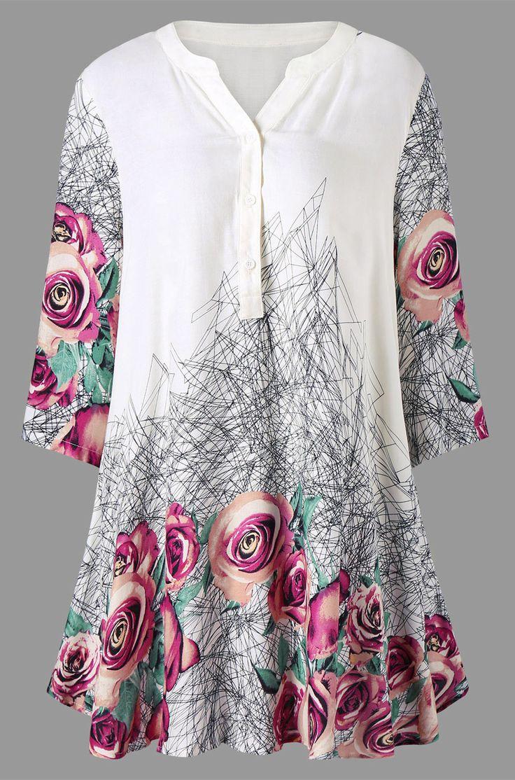 Plus Size 3D Floral Geometric Print Tunic Top