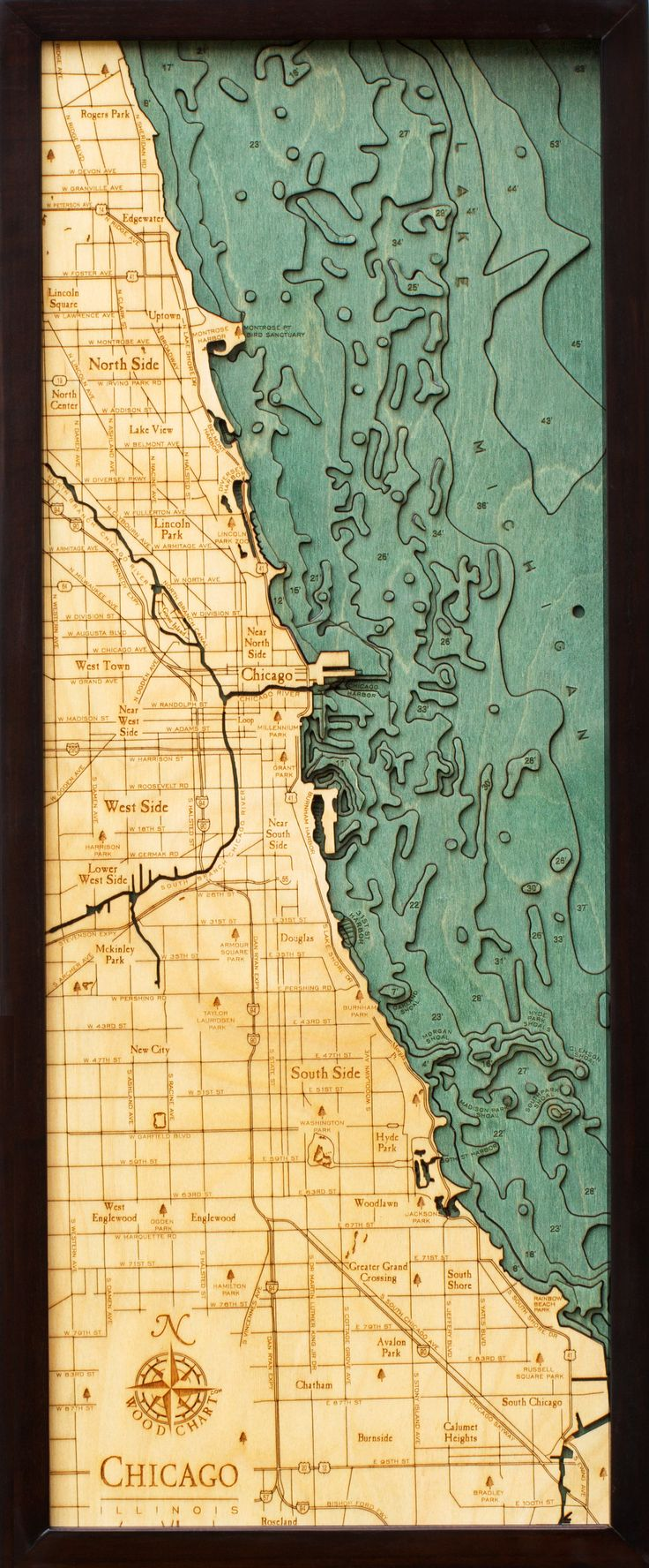 Chicago Map With Neighborhood Names%0A An heirloomquality  lasercut topographical map of Chicago made of Baltic  birch and stained by hand  This chart is x