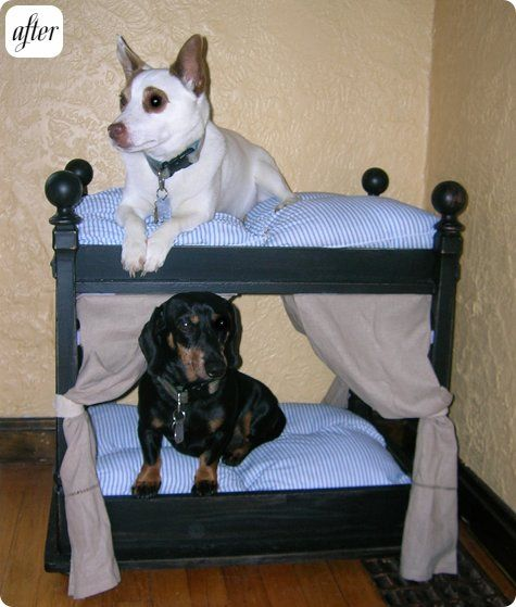 doggie bunk bed from an upside down table....Don't think they will fall for this but it is a good idea!!!